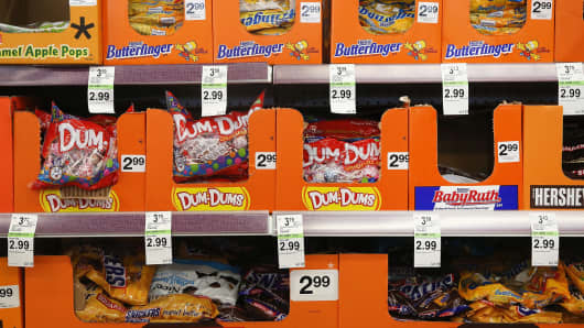 Candy displayed at a Walgreens in Wheeling, Ill.