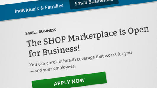 Heathcare.gov SHOP Marketplace for small businesses