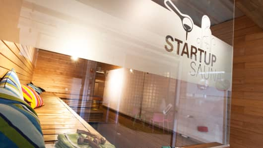 The 'Startup Sauna' area is seen at the Aalto Venture Garage, a co-working business space for startups and tech developers, in Espoo, Finland.