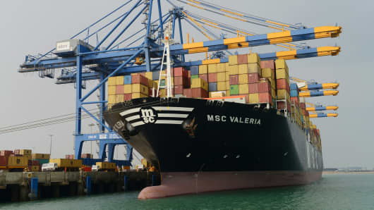 Containers are unloaded from the MSC Valeria, an ultralarge containership of the Mediterranean Shipping.