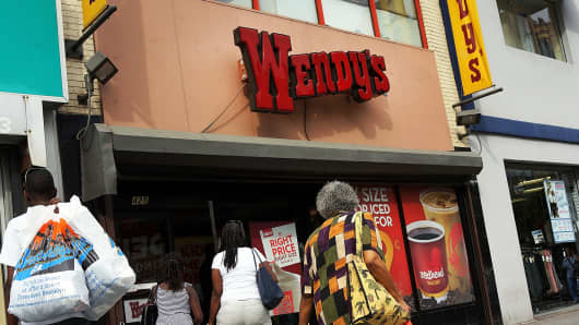 Wendy's fast food restaurant in Brooklyn, New York.