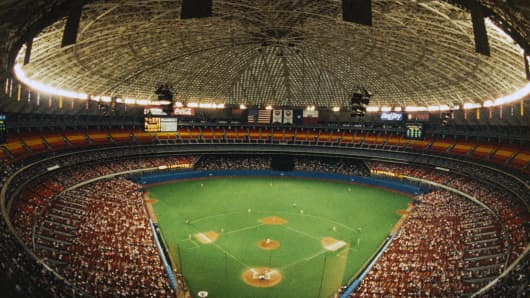 A wide angle view of the Houston Astrodome, during a Astros Baseball game circa 1980's in Houston, Texas.