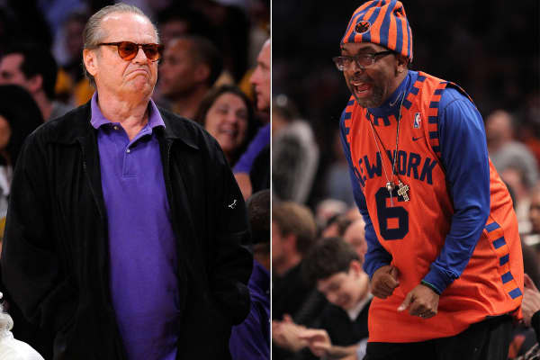 Jack Nicholson court side at L.A. Lakers game (L) and Spike Lee court side at Madison Square Gardens.