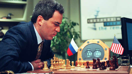 World Chess Champion Garry Kasparov ponders his next move during third game against the IBM Deep Blue computer. May, 1997