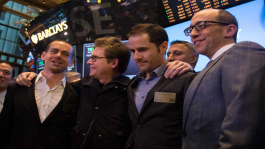 Twitter executives at the NYSE to launch the Twitter IPO.