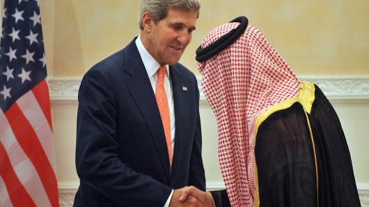 U.S. Secretary of State John Kerry (L) shakes hands with Saudi Foreign Minister Prince Saud Al-Faisal at the end of a joint press conference last week in Riyadh.