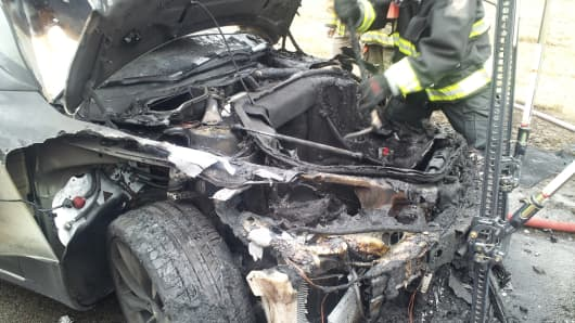 Tesla Model S after it caught fire in Tennessee