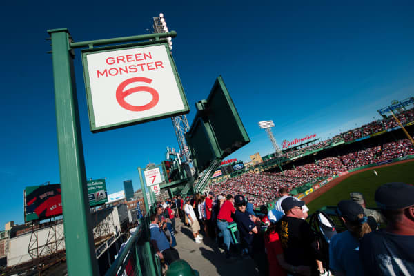 A general view of the Green Monster seats above the Green wall at Fenway Park, Boston.