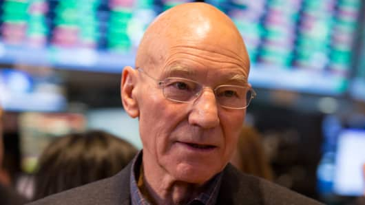 Patrick Stewart at the NYSE on Nov. 7, 2013.