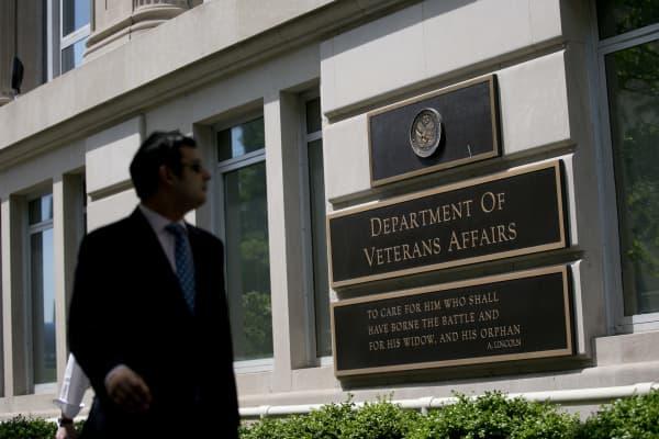 A pedestrian walks past the U.S. Department of Veterans Affairs (VA) headquarters in Washington, D.C.