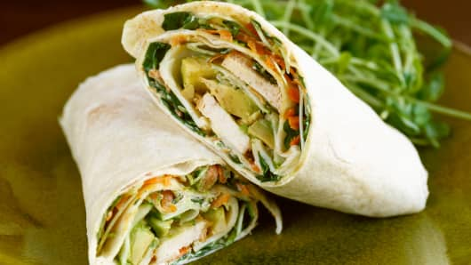 Stock photograph of a chicken wrap sandwich.