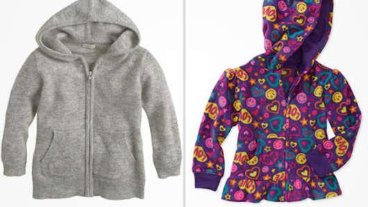 J Crew's $135 cashmere baby hoodie versus Wal-Mart's $6.96 baby hoodie.