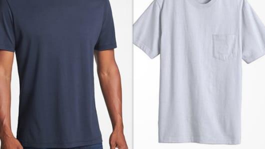Robert Barakett $59.50 men's white T-shirt versus Kmart's Basic Edition $6.98 white T-shirt.