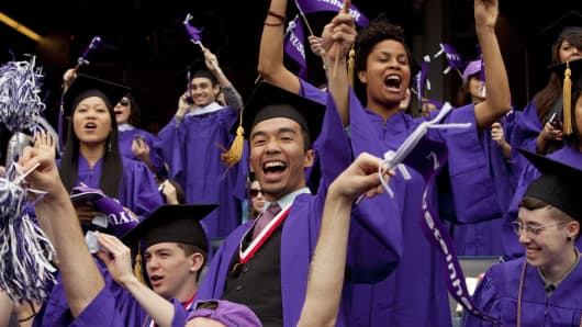 New York University (NYU) holds its 180th commencement ceremony in Yankee Stadium.