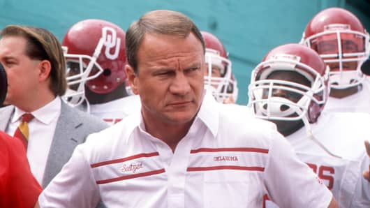 Former University of Oklahoma head football coach Barry Switzer, circa 1988.