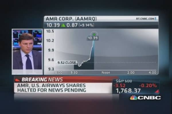 AMR, US Airways shares halted