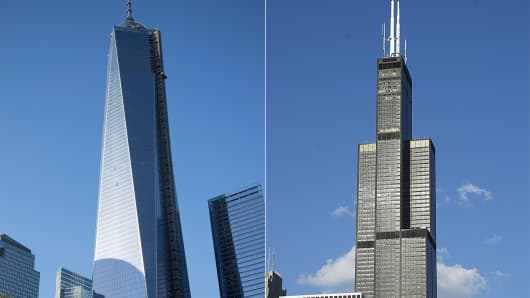 One World Trader Center (L) is now deemed the tallest building in the U.S., overtaking the Willis Tower in Chicago.