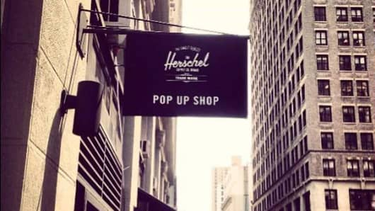 Herschel is among the rotating pop-up stores that are featured inside the larger retailer Rothmans in New York City.
