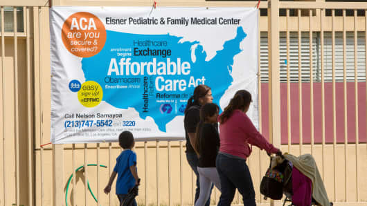 An enrollment sign for the Affordable Care Act at the Eisner Pediatric & Family Medical Center in Los Angeles.