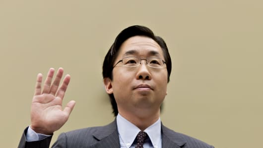 Todd Park, U.S. chief technology officer at the White House Office of Science and Technology Policy, raises his right hand as he is sworn in to testify before the House Oversight Committee about problems implementing the Obamacare healthcare program, on Capitol Hill in Washington, Wednesday, Nov. 13, 2013.
