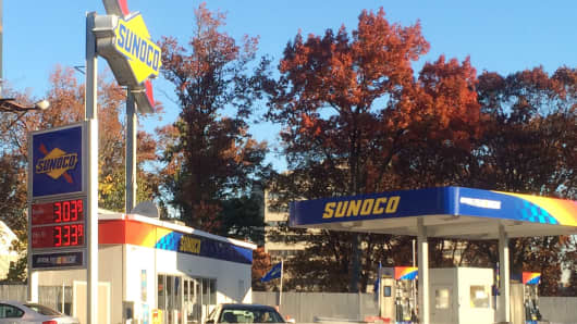 Gas prices at this Sunoco station hover at around $3 in New Jersey on November 13, 2013.