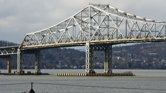 The Tappan Zee bridge, which links Rockland and Westchester County in New York. The State of New York plans to replace the three-mile 1955 span because it is jammed with traffic and expensive to maintain