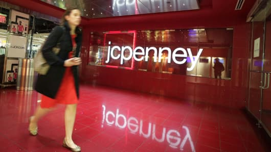 A customer leaves a J.C. Penney store in New York.