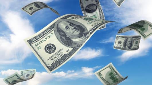 Money cash falling from sky