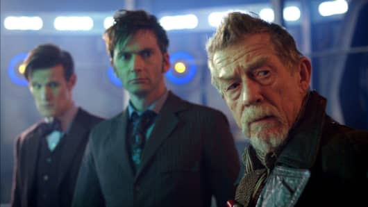 "Actors (from left) Matt Smith as the 11th Doctor, David Tennant as the 10th Doctor and John Hurt as the War Doctor,  in the 50th Anniversary Special, ""The Day of the Doctor."""