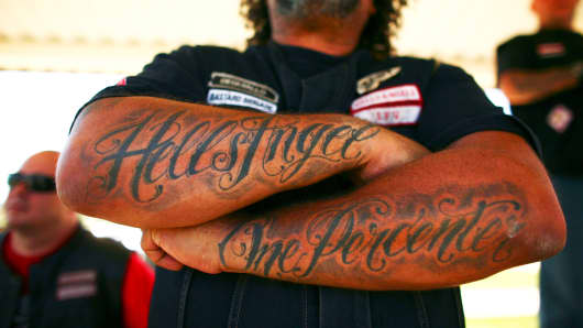 Hells Angels at a softball game in Spearfish, S.D.
