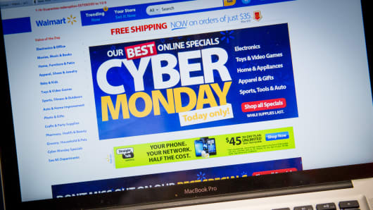Cyber Monday deals on Walmart's website on Dec. 2, 2013.