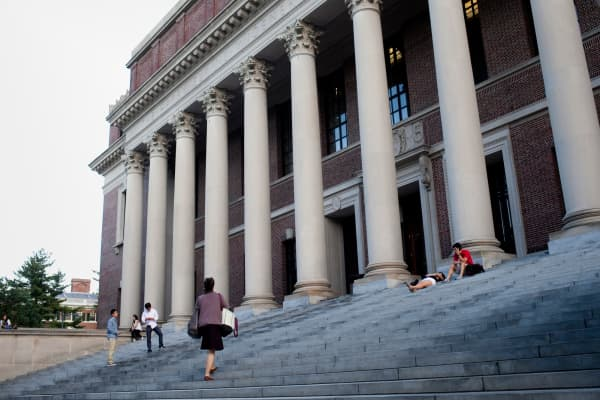 The Harry Elkins Widener Memorial Library on the campus of Harvard University in Cambridge, Mass.