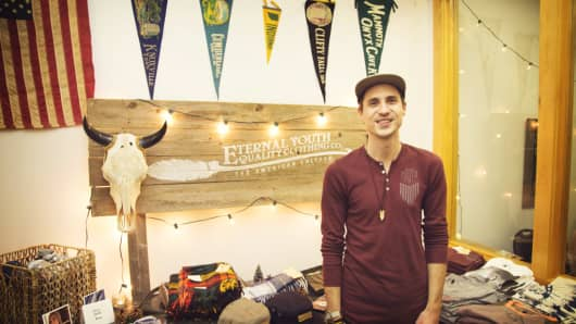 Evan Perigo of the Eternal Youth Clothing Co. was among the businesses featured in this year's HollyPop retail fair in downtown Fort Wayne, Ind.