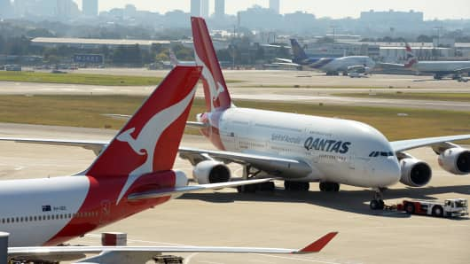 Qantas aircraft on the tarmac at Sydney's International Airport.