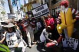 Fast food workers striking in August.