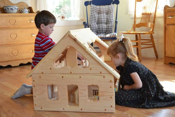 Natural wooden dollhouse by Elves & Angels