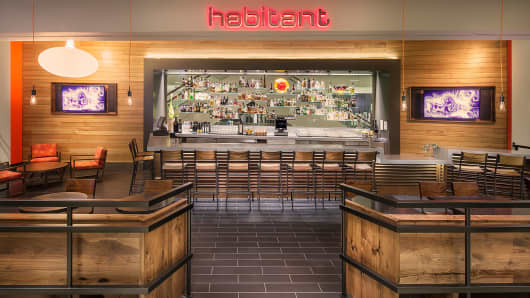 Habitant restaurant in Nordstroms is part of new trend of offering food and drinks as part of the retail experience.