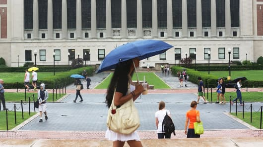 People walk on the Columbia University campus in New York City.