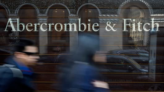 Pedestrians pass in front of an Abercrombie & Fitch Co. store in New York.