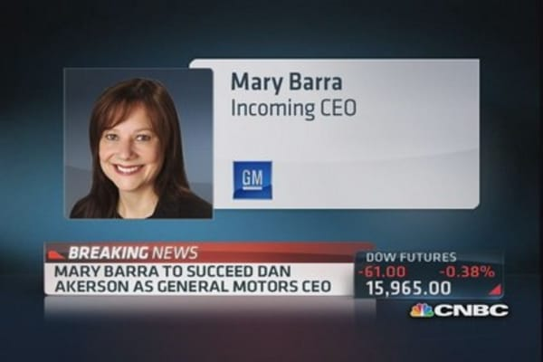 GM: Mary Barra to succeed Dan Ackerson as CEO
