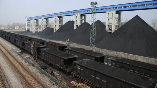 Piles of coal at Suntong Mine of Huaibei Coal Mining Group in Huaibei, Anhui Province of China.