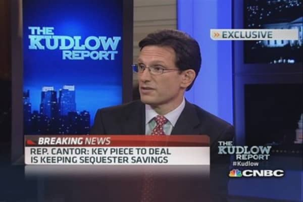 Deal maintains sequester savings: Cantor