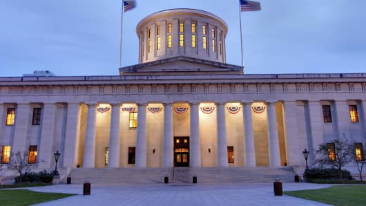The Ohio Statehouse, located in Columbus, Ohio.
