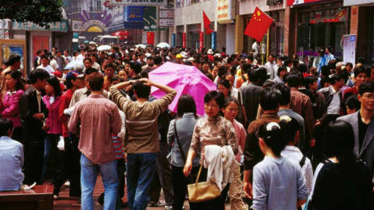 Pedestrians on Nanjing Donglu shopping street.