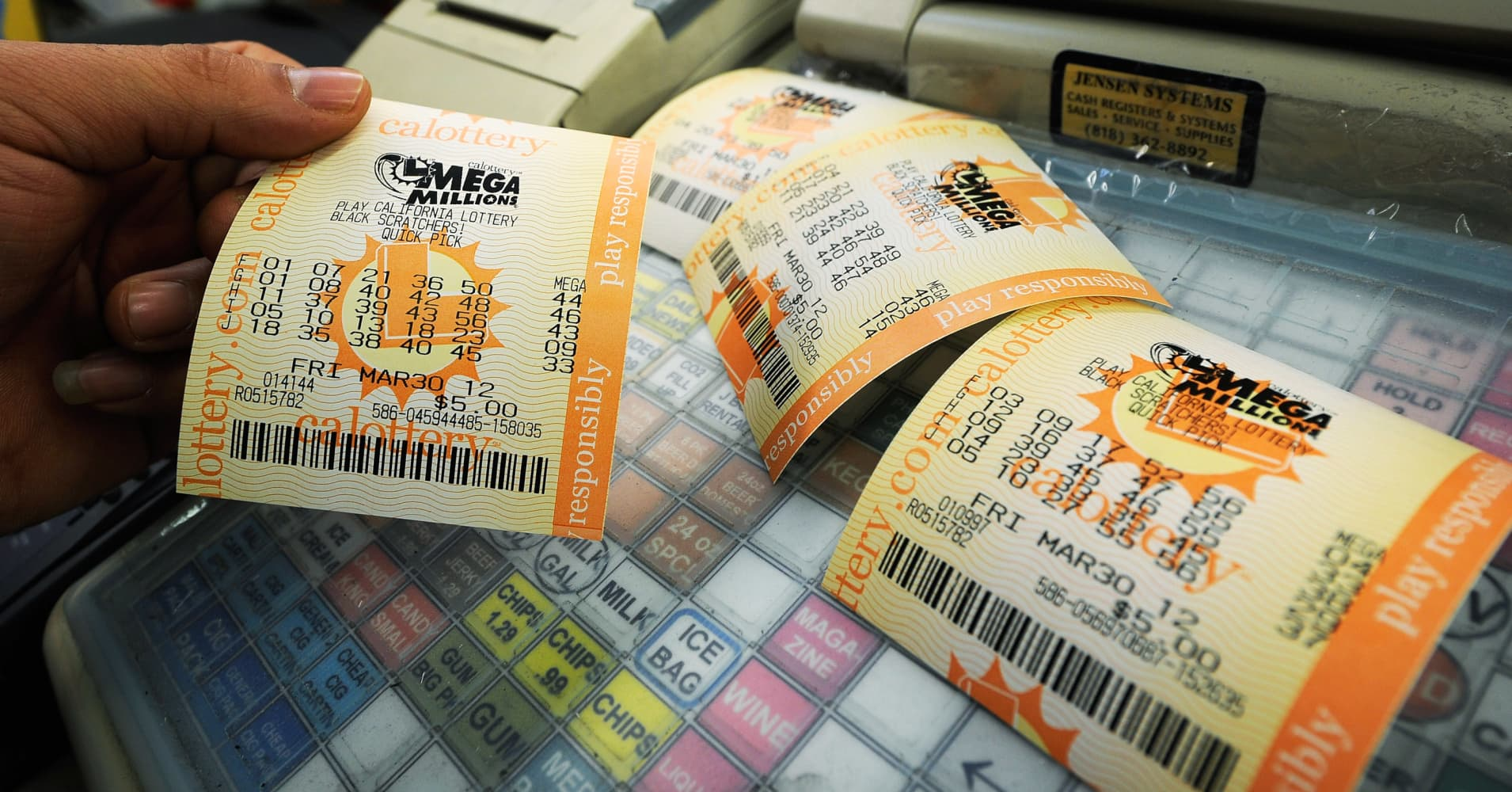 The winning numbers for Tuesday night's $454 million Mega Millions lottery were 29, 46, 53, 64, 73 and 10.