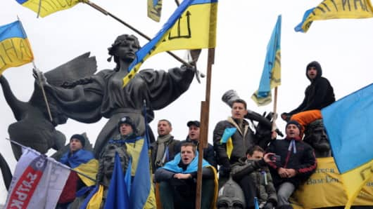 Ukrainian opposition supporters during a mass rally on December 15, 2013