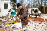 Carpenters renovating a home in Cohasset, Mass.