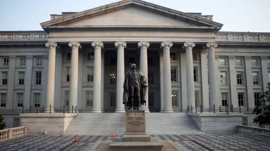 The statue of Albert Gallatin stands outside the U.S. Department of the Treasury building in Washington, D.C.