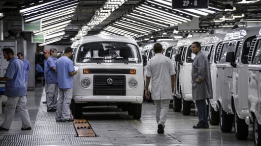 Workers at Volkswagen's Anchieta plant in Sao Bernardo do Campo, Brazil