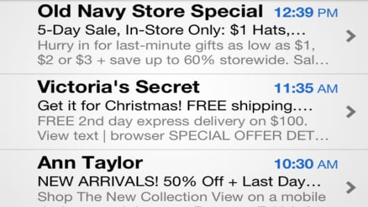 Emails tout specials to entice last-minute shoppers